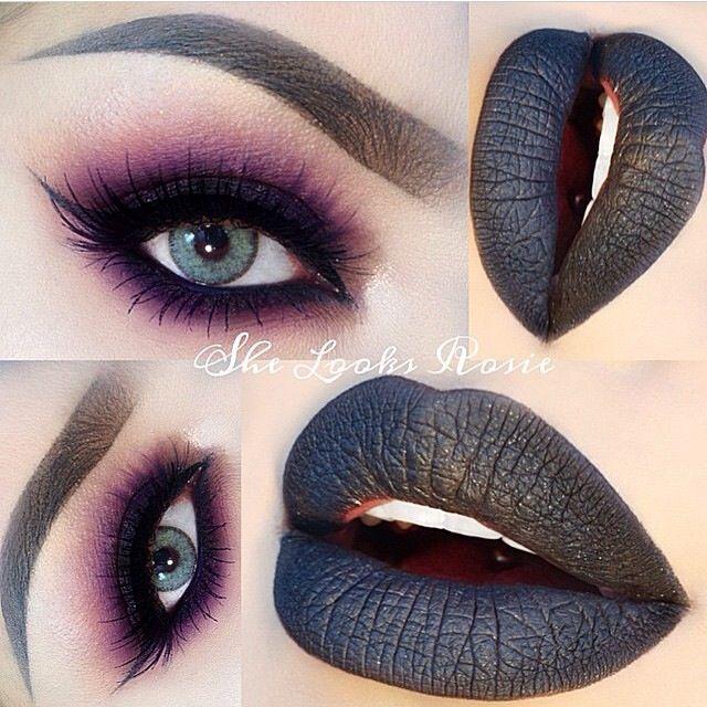 ❥♚ purple smokey eyeshadow and black matte lipstick. Cool halloween idea #makeup