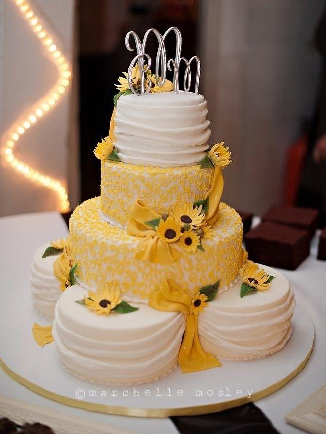Round Wedding Cakes - Sunflower Wedding Cake