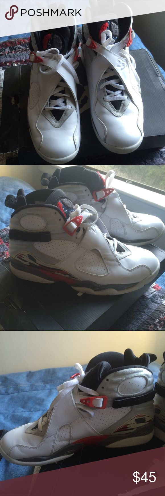 Air Jordan VIII (Retro) Okay condition. I'd say 6.5/10 just bc of the sides of the shoe. Looks pretty decent and they are at least 7-8years old. Jordan Shoes Sneakers