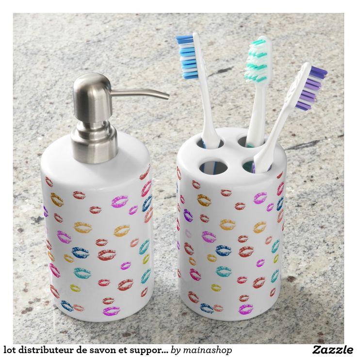 lot distributeur de savon et support brosse à dent