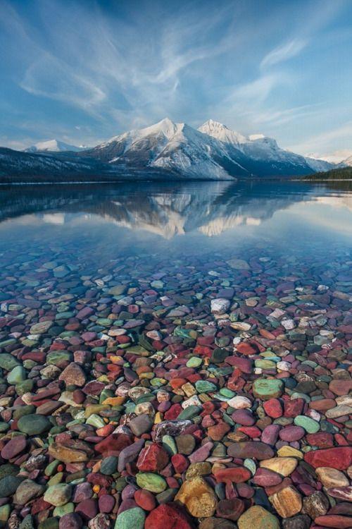 Pebble Shore Lake in Glacier National Park, Montana, United States
