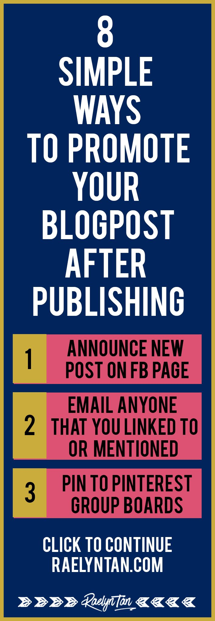 Hello! Learn 8 simple ways to promote your blog posts after you hit publish. I will cover how you can promote new blog posts on social media, and give you actionable tips to promote your blog posts. Must-read for all bloggers, online business owners & entrepreneurs!