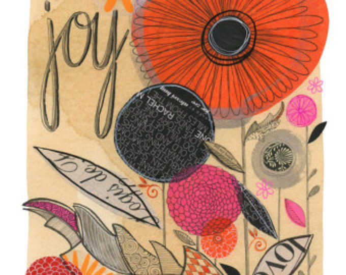 joy - 11x14 GICLEE PRINT, floral, botanical collage, Susan Black