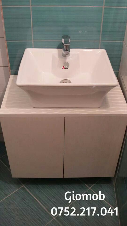 Giomob White bathroom furniture/ Mobila de baie din Mdf alb