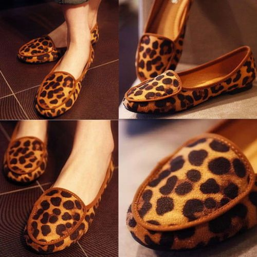 Women-Leopard-Print-Loafers-Pumps-Moccasins-Dolly-Ballet-Flats-Slip-on-Shoes
