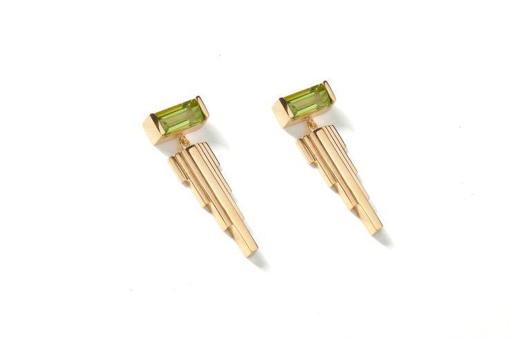 Penumbra Earrings Gold with Peridot