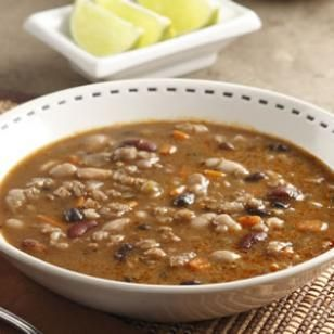 Southwestern Three-Bean & Barley Soup Recipe- can put in the crock pot!! made this and it was good! used 2.5Q of water, 2 chicken boullion cubes (no broth) diced carrots and celery, and 3 CANS of beans (not dry)black, kidney and navy.  seasoned with dehydrated onions, cumin, chili powder, cavender's, rosemary, salt, other random seasonings gentle boil for 30 minutes. DELISH!
