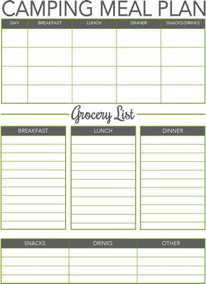 CAMPING MEAL PLANNER - I was a little tired of seeing some worn out and boring meal planners for camping so i made my own. I hope you enjoy!!