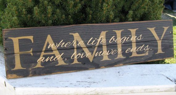 I designed, hand painted, hand stenciled, and distressed this sign to bring out its natural charachter. Its made on recycled allet boards. As with all of my pallet signs it may have, chips, dings, dents, cracks, nails and/or nail holes. This just adds to the unique and one of a kind beauty that can only be found with repurposed wood. All of my signs come with a heavy saw tooth hanger. The sign pictured is black with family in mustard and the cursive words in cream.