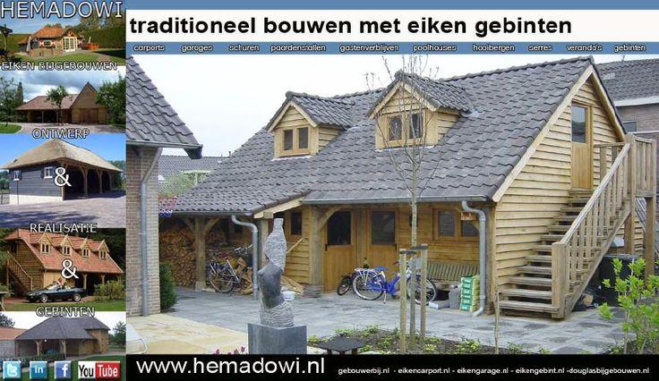 eiken bijgebouw, eiken carport, eiken garage of eiken gebint Hemadowi ontwerpt en bouwt op maat of als bouwpakket