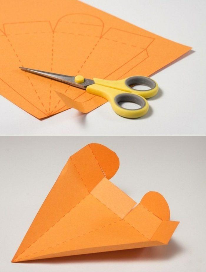 ostergeschenk aus papier basteln eine orangenfarbene. Black Bedroom Furniture Sets. Home Design Ideas