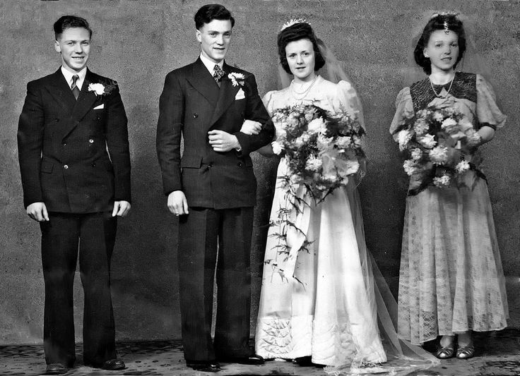 My Parents wedding 1945 James and Elizabeth Bridesmaid - Jean Dowds Best Man - Edward Dowds