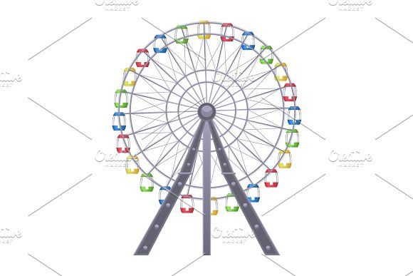 Ferris Big Observation Rotating Wheel With Multiple Passenger Carrying Cars Design Elements Objects Design Business Card Logo