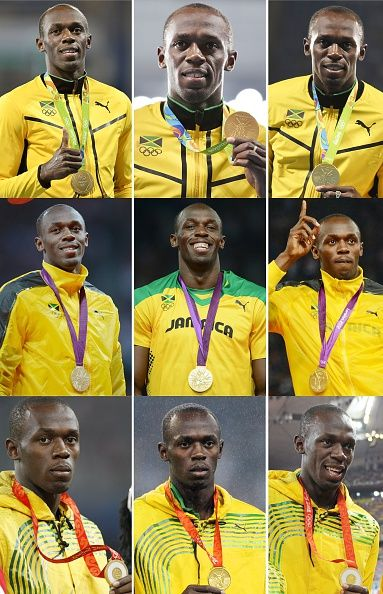 #TOPSHOT A combination of nine pictures made on August 20 2016 shows Jamaica's sprinter Usain Bolt posing with his gold medals on the podiums of...