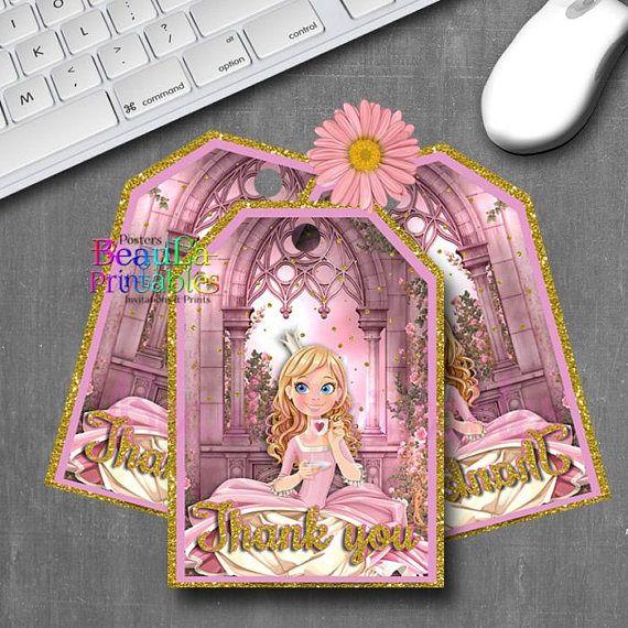 Princess Thank you Tags Princess Tags Birthday Tags