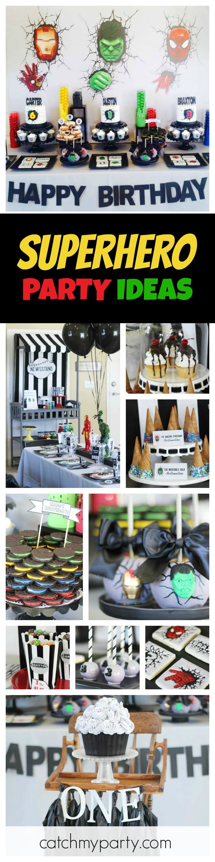 Check out this cool Superhero Birthday Party for 3! The awesome backdrop and cakes are incredible! See more party ideas and share yours at CatchMyParty.com