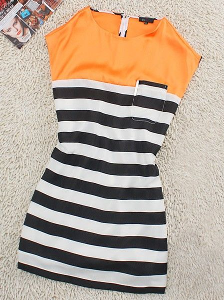 Orange Casual Round Neck Sleeveless Striped Dress :)