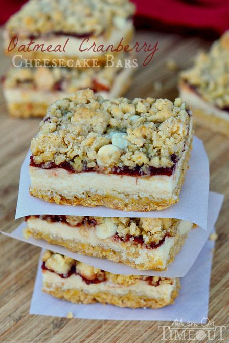 Oatmeal Cranberry Cheesecake Bars are the perfect dessert for this holiday season! | MomOnTimeout.com