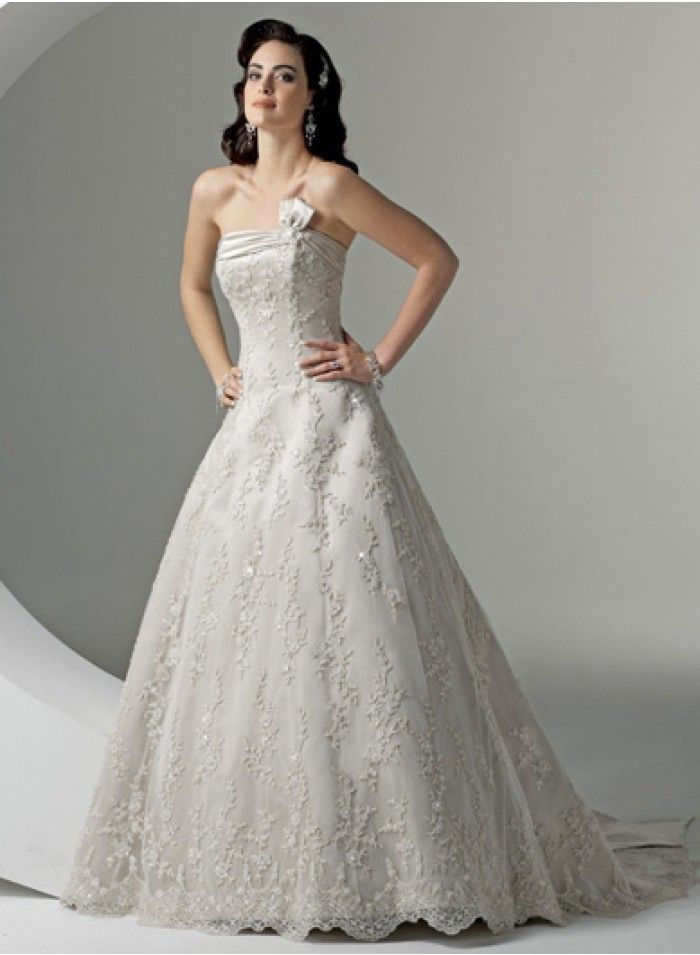 A-line Strapless Sweetheart Lace Applique Embroidery Empire Floor-length  Sweep-train Chapel train Wedding Dresses - Discount Wedding Dresses -  Wedding ...