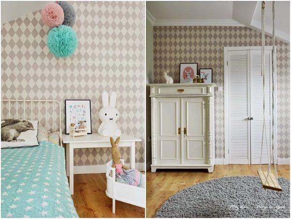 Blog sklepu scandikids.pl | Pokój dziecięcy | Skandynawski styl | Ferm LIVING, Sebra, Farg & Form, RICE, Smallstuff – harlequin wallpaper by ferm living