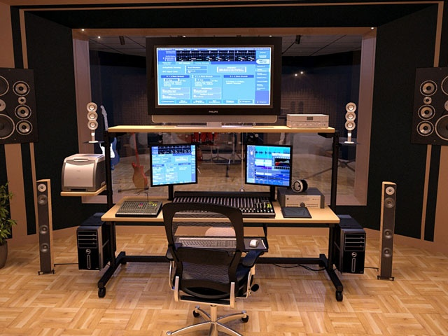73 best the perfect edit suite images on pinterest desks for Best home office monitor setup