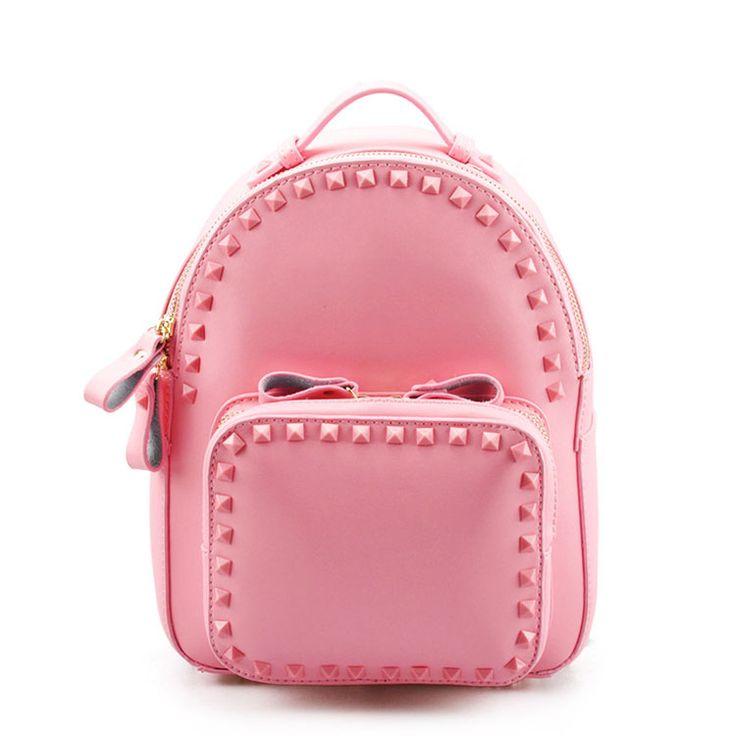 Mochilas de bandolera de escuela de moda bolsas de cuero para niñas con remaches [AL93010] - €63.62 : bzbolsos.com, comprar bolsos online