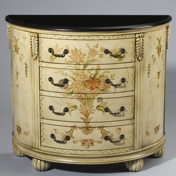 AA Importing Half Round Cabinet in Antique Ivory