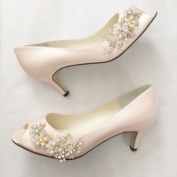 Blush Gold Wedding Shoes with Pearl and Crystal Vine Flower Charm embellishments - Open Toe Short Kitten Heel
