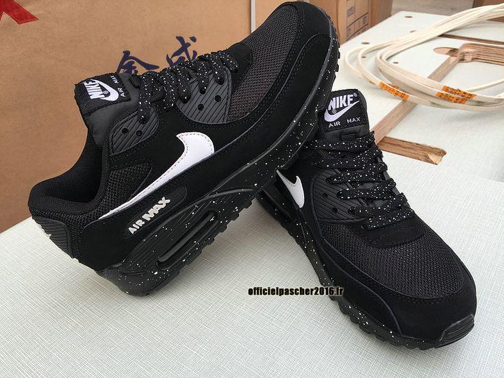 Chaussures Nike Officiel Pas Cher Pour Femme Nike Air Max 90 Noir - Blanc
