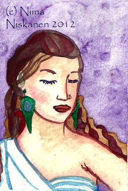 Goddess Hera ACEO Painting Greek Mythology Goddess Fantasy Art Original ACEO Watercolor Painting Goddess Art Greek Mythological Art