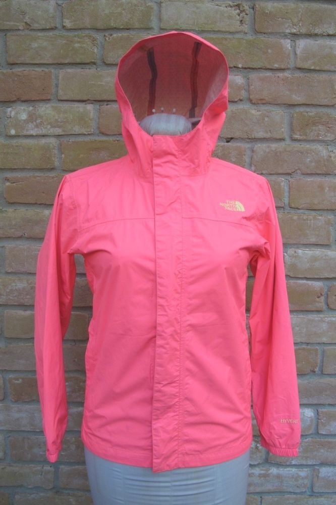 ca1558943 USED The North Face Girl's ZIPLINE RAIN JACKET Style AQUZ Neon Pink ...