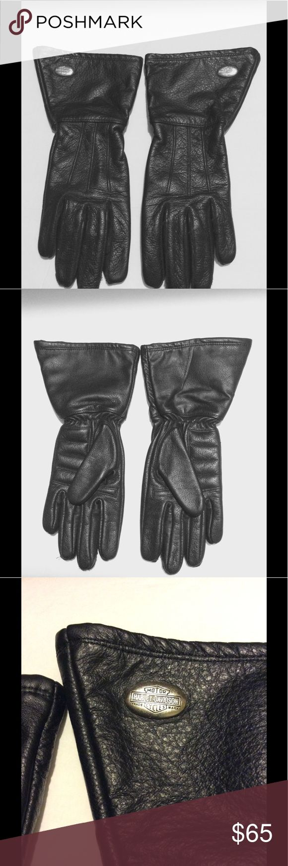 Womens black leather gloves medium -  Nwot Harley Davidson Womens Bike Gloves