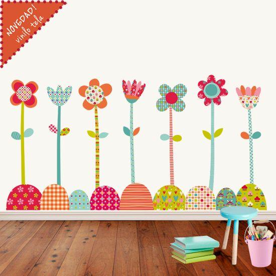 Vinilo infantil de tela flores pop con estas flores tan for Vinilos infantiles originales