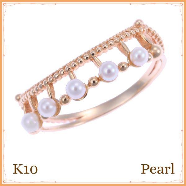 K10 イエローゴールド 本パール リング 華奢で繊細なツブツブのミル打ちの腕に天然本パールが輝くレディースリング 送料無料 ゆるやかなカーブに沿った真珠が指を長く美しく見せてくれる指輪です。プレゼントや贈り物にも最適 10K 10金【楽天市場】