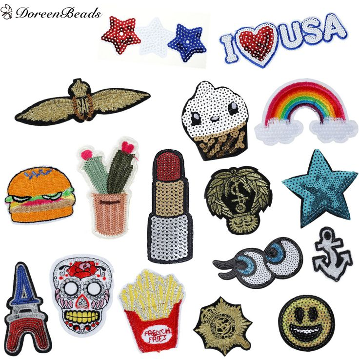 DoreenBeads Fashion Patched Denim Polyester Embroidered Appliques DIY Scrapbooking Craft Hamburger Anchor Jean Jacket Patch 1PC