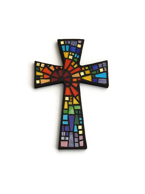 "Mosaic Wall Cross, Black with Rainbow Glass, ""Blessed"", Handmade Stained Glass Mosaic Cross Wall Decor, 12"" x 8"" by Dana Hess - The Green Banana Mosaic Company"