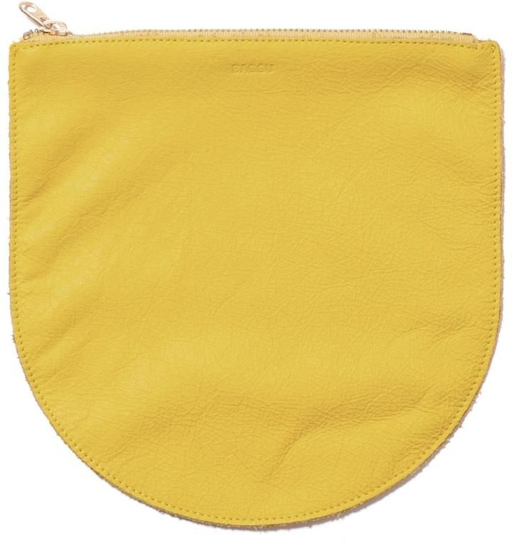 Baggu Yellow Leather Clutch