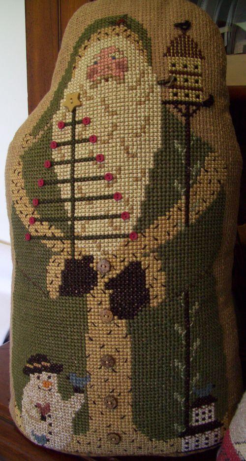 cross stitch santa on klostern fabric