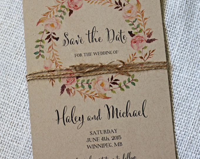 Rustic Marsala Wedding Save the Date Floral Save the date | Etsy