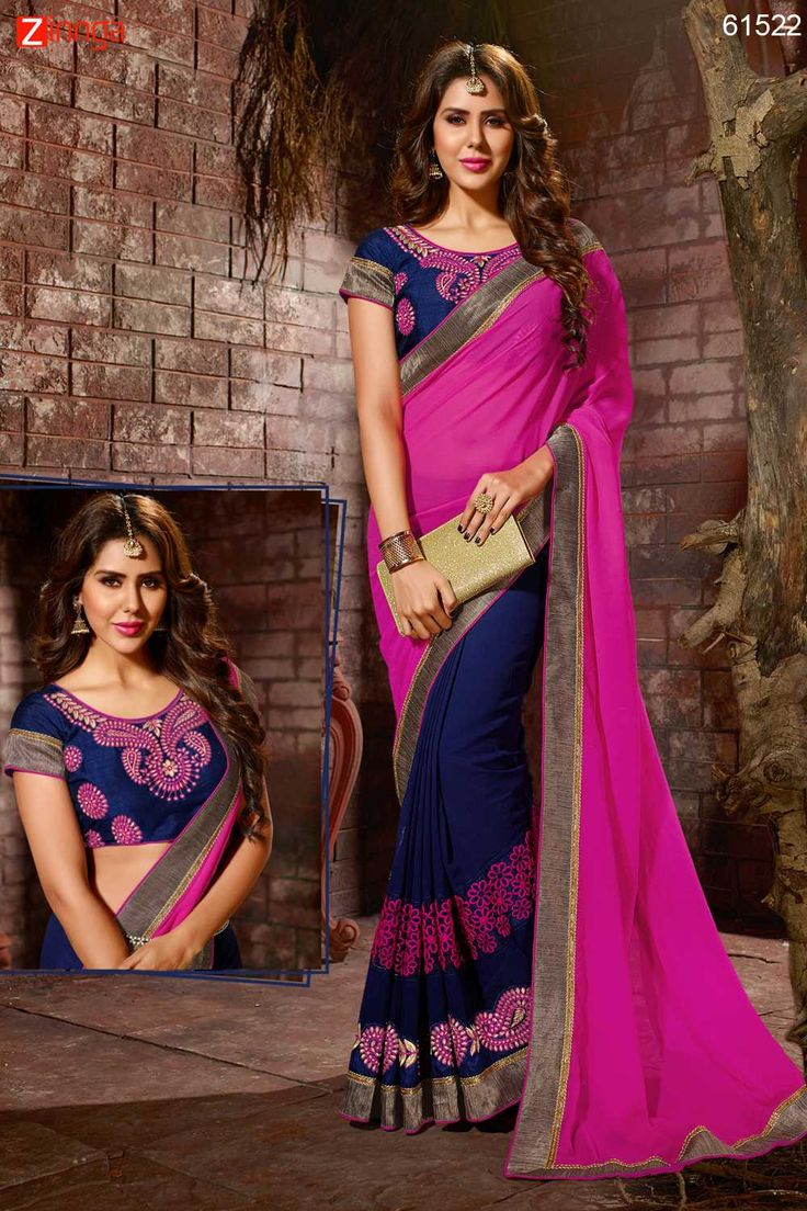 Gorgeous Plain Pallu Saree in Deep Pink Color. Click here for more details www.zinnga.com