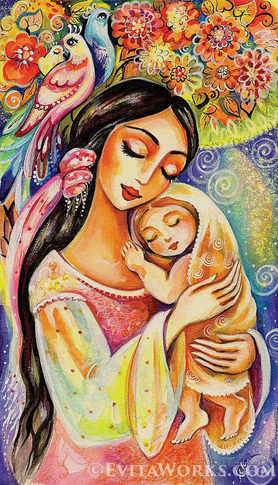 Mother and child painting, mother and baby, nursery wall art, tree of life, room decor print