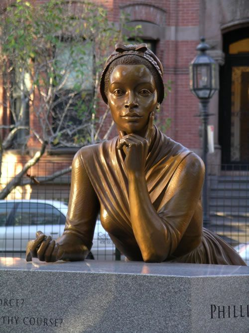 Sculpture-Hartford, Connecticut-Poet, Phillis  Wheatley, (b.1753 - d. December 5, 1784) Was sold into slavery at age 7, and transported to North America (Boston Massachusetts). She was bought by John Wheatley and named Phillis after the ship that brought her. She was the first African American woman to have her writings published.