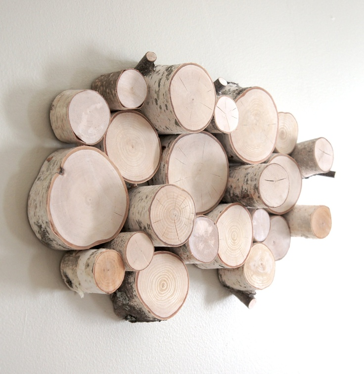 Natural white birch forest topography wall sculpture - wood slices, wood wall…