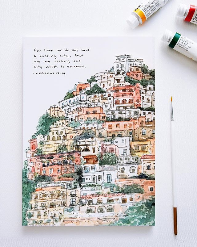 For here we do not have a lasting city but we are seeking the city which is to come. Hebrews 13:14 . A quick portrait of Positano. A small cliff-side village on the Tyrrhenian Sea. An impossible collection of pastel colored homes rising out of the shimmering sea. Bougainvillea flowers overflowing from every balcony. Surrounded by rugged landscape and blue-green water its one of the most beautiful places Ive ever seen. . One of the things I love most about travel is discovering places like this.