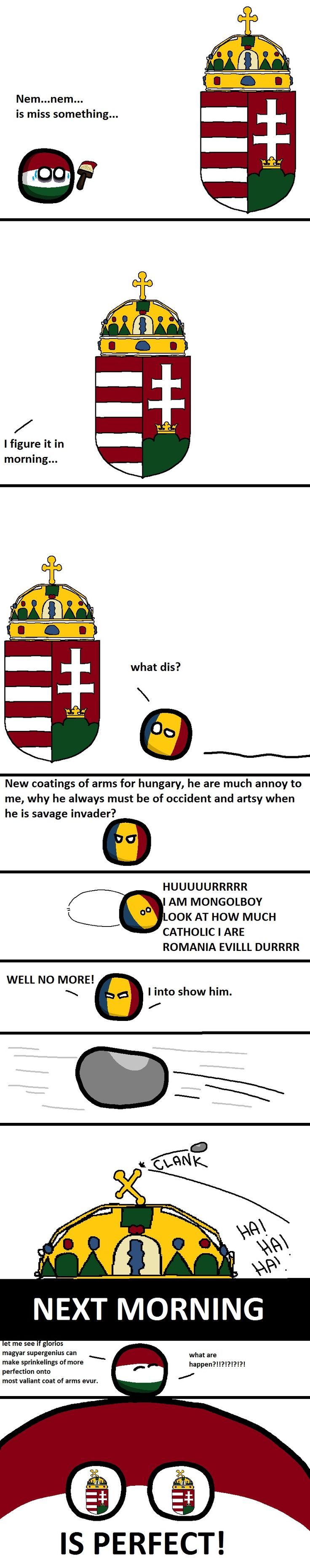 Hungaryball's Coat of Arms pisses off Romaniaball