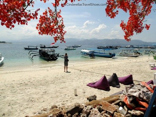 View from restaurant to coast of Gili Trawangan