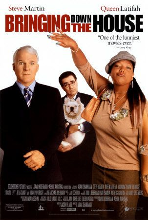 'Bringing Down The House'  Queen Latifah and Steve Martin!  He irritates me a lot but I can cope with it to see her!