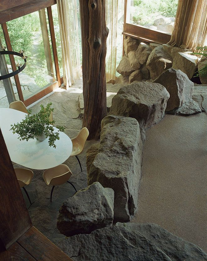 Russel Wright's sunken dining room at his Manitoga/ Dragon Rock residence, Garrison, NY, USA  http://www.russelwrightcenter.org/redesign/home.html
