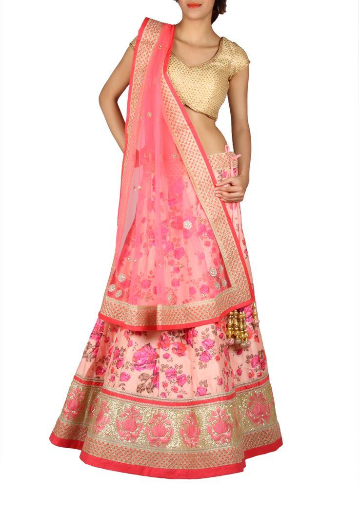 Chaniya Choli : Pink Silk Floral Designer Chaniya Choli