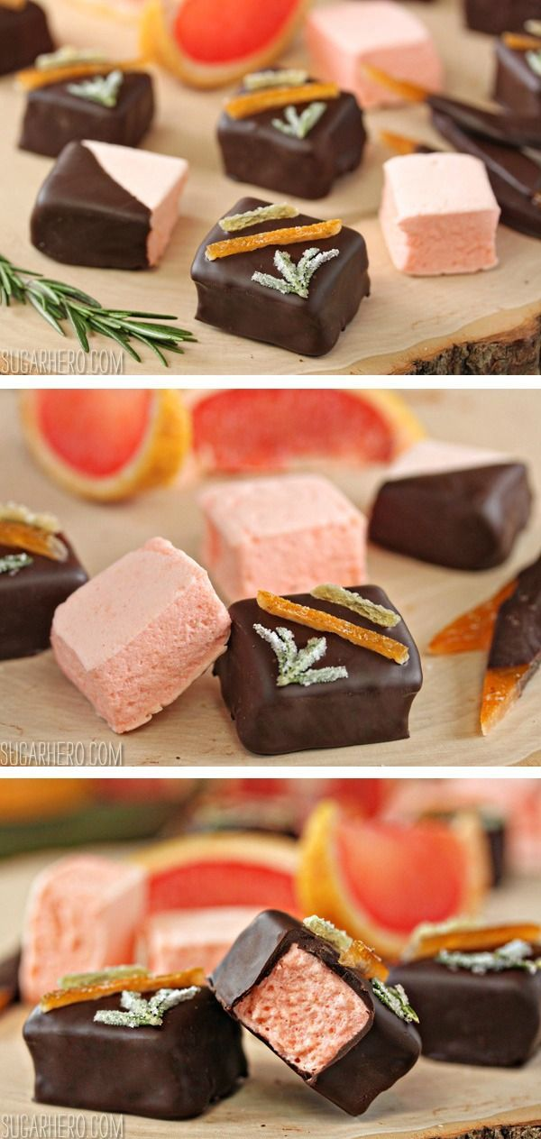 Homemade grapefruit marshmallows: pillowy, soft, sweet-tart, and perfect for dipping in chocolate!   From http://SugarHero.com